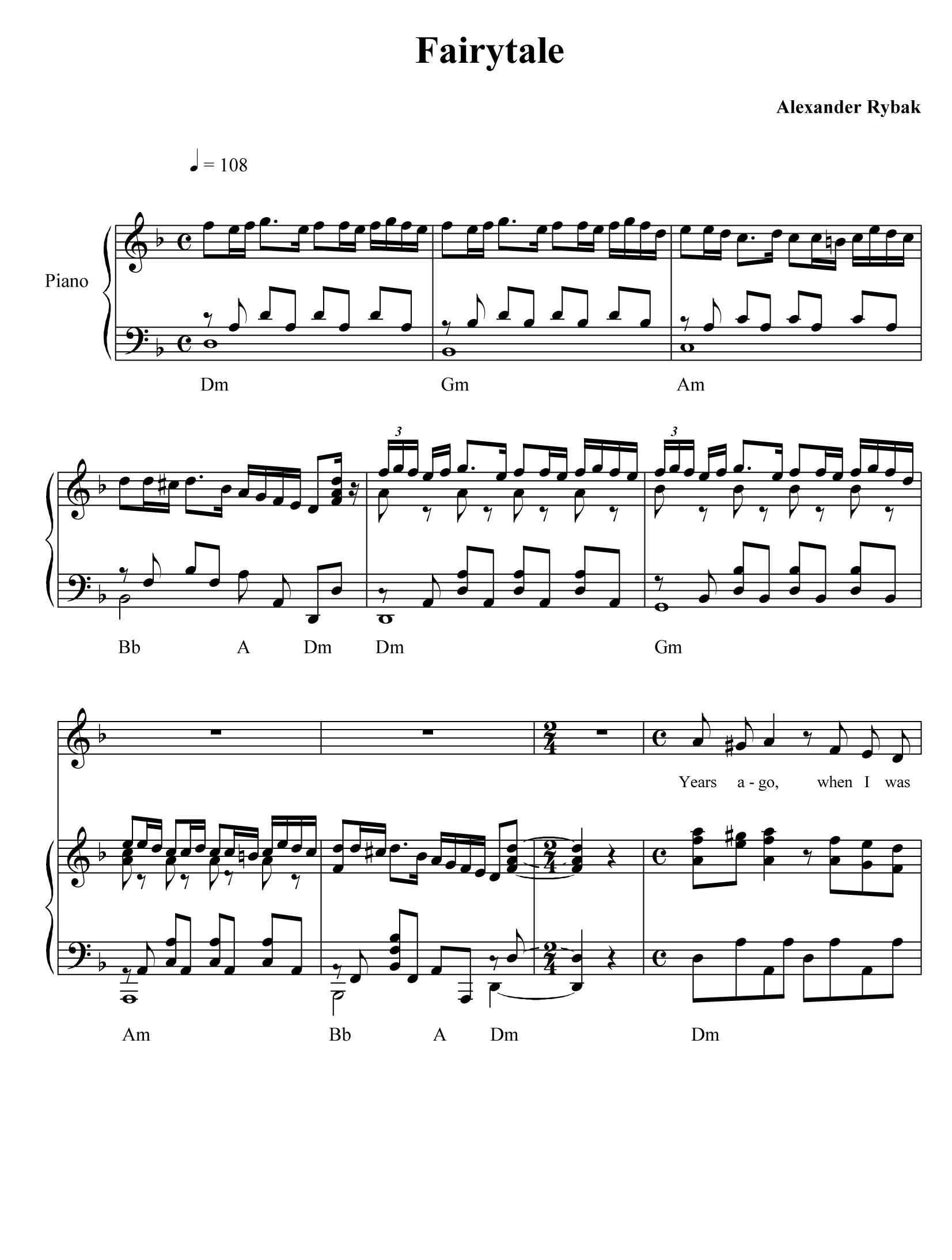 ноты fairytale а рыбака для скрипки